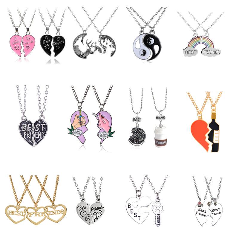 Fashion Best Friends Honey Love Couple Pendant Necklace 2 Pcs/ Set Rainbow Broken Heart BFF Good Friends Friendship Jewelry Gift