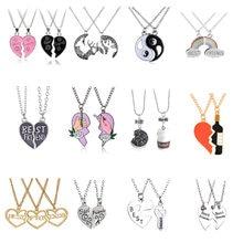 Colar de pingente de arco-íris, moda, melhores amigos, amor, mel, casal, colar 2 pçs/set, arco-íris, coração quebrado, bff, bff, boas amizade, presente, joias