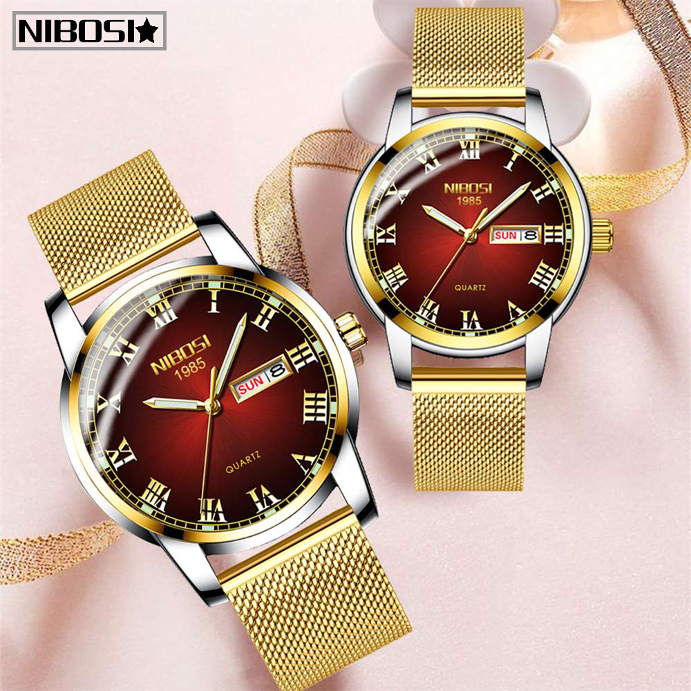 Gold Mens Women Watches NIBOSI Unique Design Luxury Stainless Steel Mesh Strap Men's Fashion Casual Date Watch Relogio Feminino