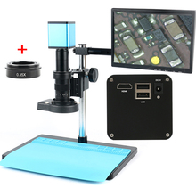 "Autofocus sony imx290 hdmi tf vídeo foco automático indústria microscópio câmera + 180x c montagem lente + suporte + 144 led anel luz + 10.1 ""lcd"