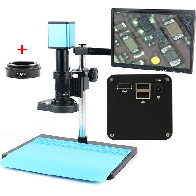 """Цифровой фокус SONY IMX290 HDMI TF видео Автофокус промышленный микроскоп камера + 180X C Mount объектив + Стенд + 144 светодиодная кольцесветильник + 10,1 """"ЖК дисплей"""