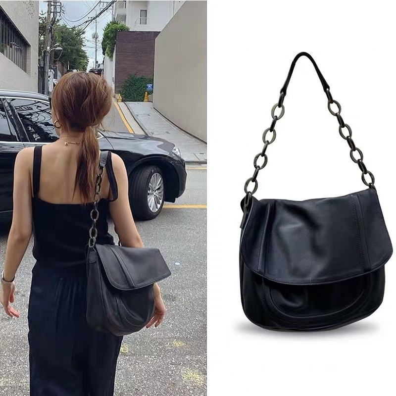 Solid Black Totes Bags For Women Retro Pu Leather Chain Hobos Large Capacity Handbags Shoulder Bag Ladies Casual Messenger Bag