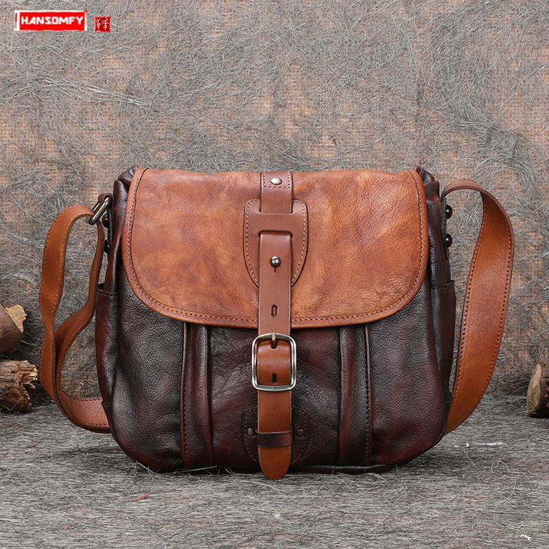 New first layer leather Men bags male small shoulder crossbody bag soft genuine leather men casual retro Messenger bags