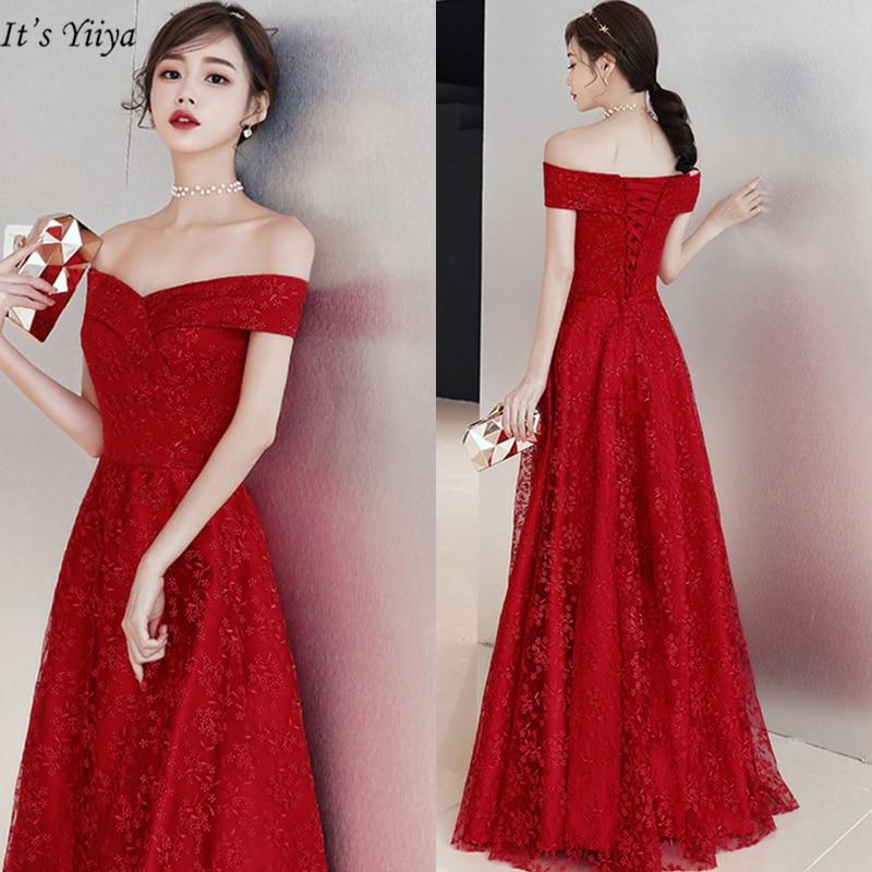 It's YiiYa   Evening     Dress   Elegant Boat Neck Plus Size Short Sleeve Women Party   Dresses   Embroidery A-Line Robe De Soiree E407