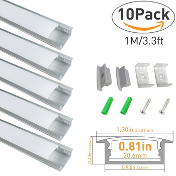 10sets/lot 1M Aluminum Profile for 20mm pcb Aluminum LED Channel System for LED Strip Light Installations