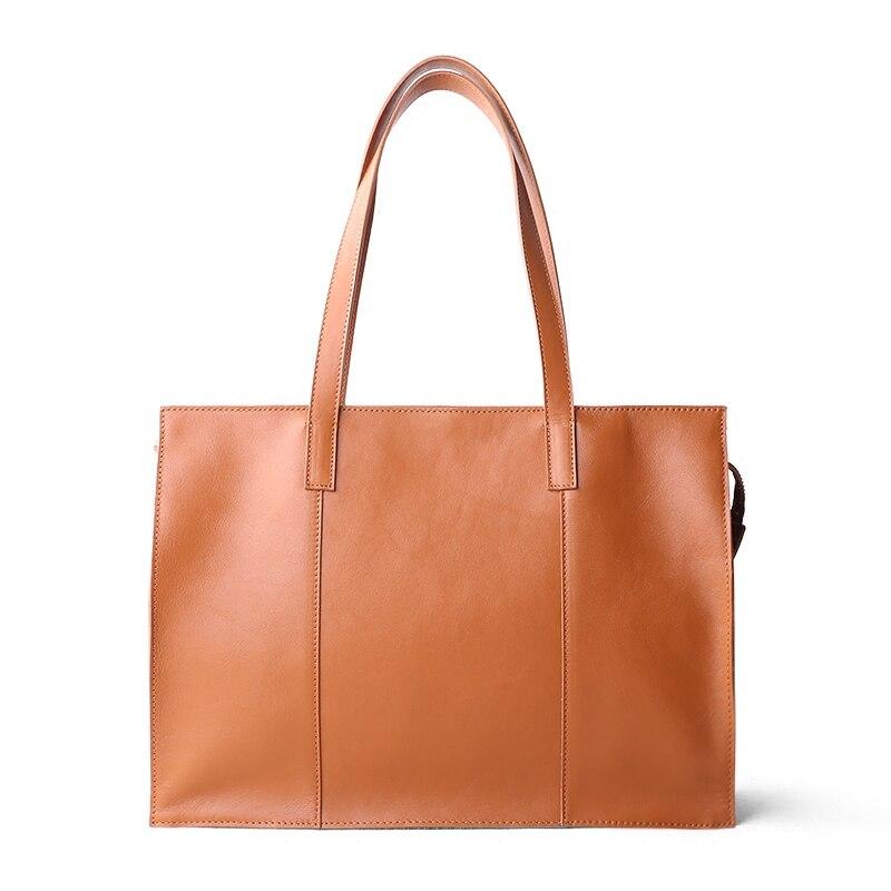 Bag Women Handbag New Briefcase Female Leather 14 Inch Laptop Bag Large Capacity Toe Bag Genuine Leather Shoulder Commuter Bag