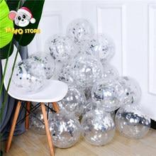 12 Polegada prata lantejoulas transparente balões confetes hélio baloons decoração de festa balões aniversário casamento lantejoulas