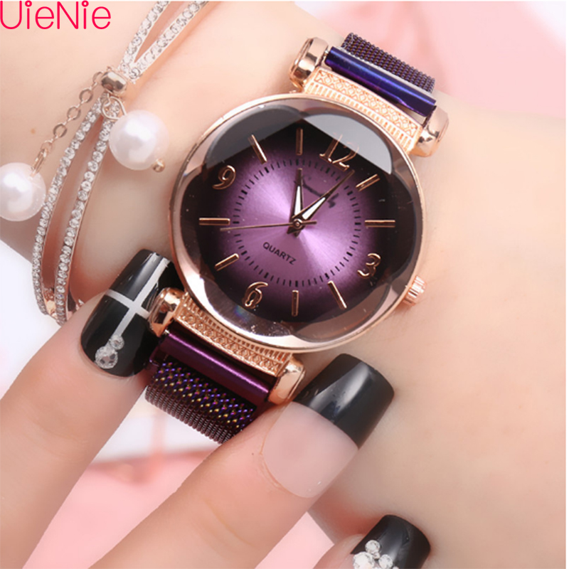 Women Watch Fashion Wild New Watch Milan Magnet Buckle Luxury Fashion Ladies Geometric Roman Numeral Quartz Movement Watch