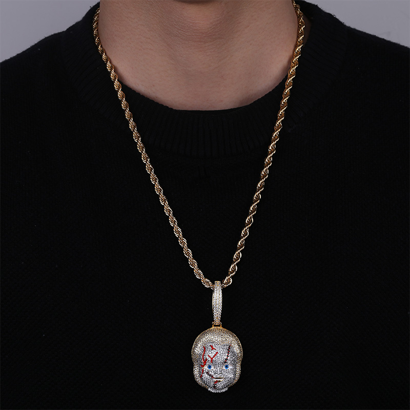Image 5 - TOPGRILLZ ICED OUT Chucky Pendant Necklace Micro Pave Cubic  Zirconia with Solid Back Hip Hop Jewelry Street WearPendant Necklaces