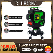 Clubiona 3D 12GH 12 Lines Laser Level with Self Leveling Super Powerful GREEN Laser Beam Lines and MSDS certificated battery