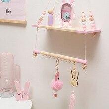 1PCS Shelf Pendants DIY Nordic Living Hanging Ornaments Racks Wall Hanging Party Decor Shelves Wood Clapboard with Bead Hook стоимость