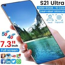 2021 nova versão global 7.3 polegada s21utra smartphones 512 gb 6800mah desbloqueado 48mp android10 duplo sim telefone móvel deca núcleo