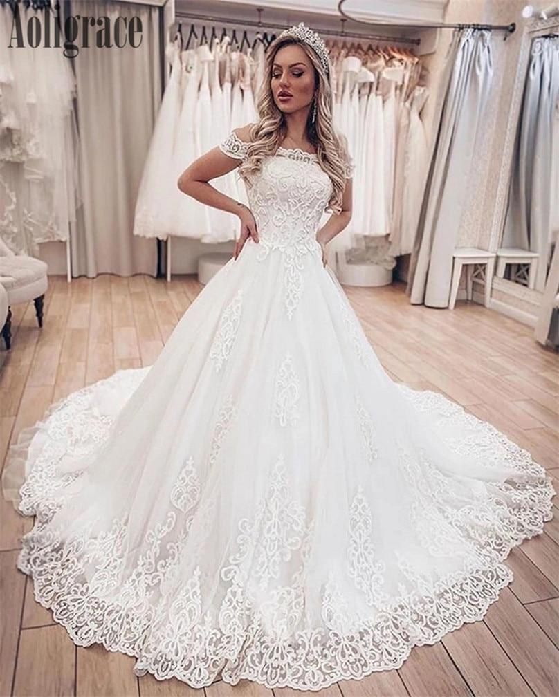 Arabric Lace Off Shoulder Wedding Dresses Appliques Lace Up Back Sweep Train Bridal Gowns Country Style Vestidoe De Noiva Custom
