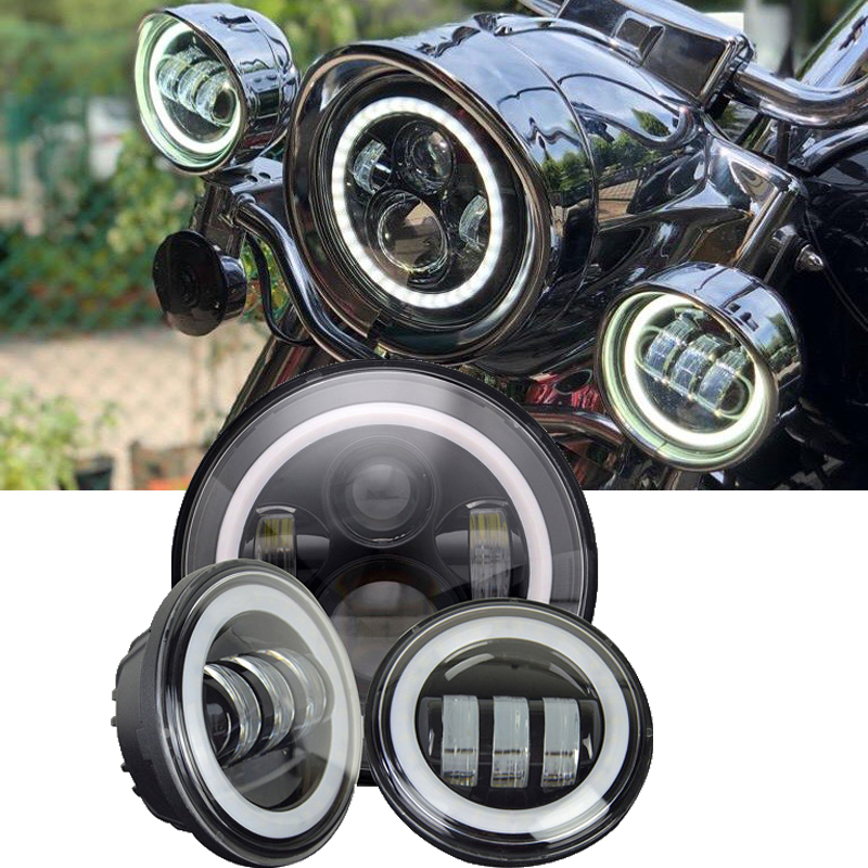 7'' LED Headlight White DRL, 4.5inch LED Auxiliary Spot Fog Passing Light Lamp With Halo Ring For Harley Touring Electra Glide