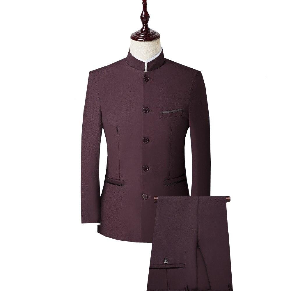 Men 3 Piece Suit (Jacket+Pant+Vest) Chinese Style Stand Collar Suit Male Wedding Groom Slim Fit Plus Size 4XL Blazer Set Tuxedo