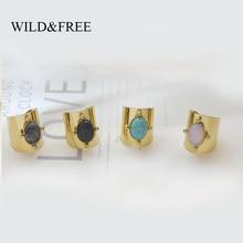 Wild & Free – bague large en acier inoxydable pour femmes, couleur or, grande pierre naturelle, Vintage, bijoux, meilleur cadeau