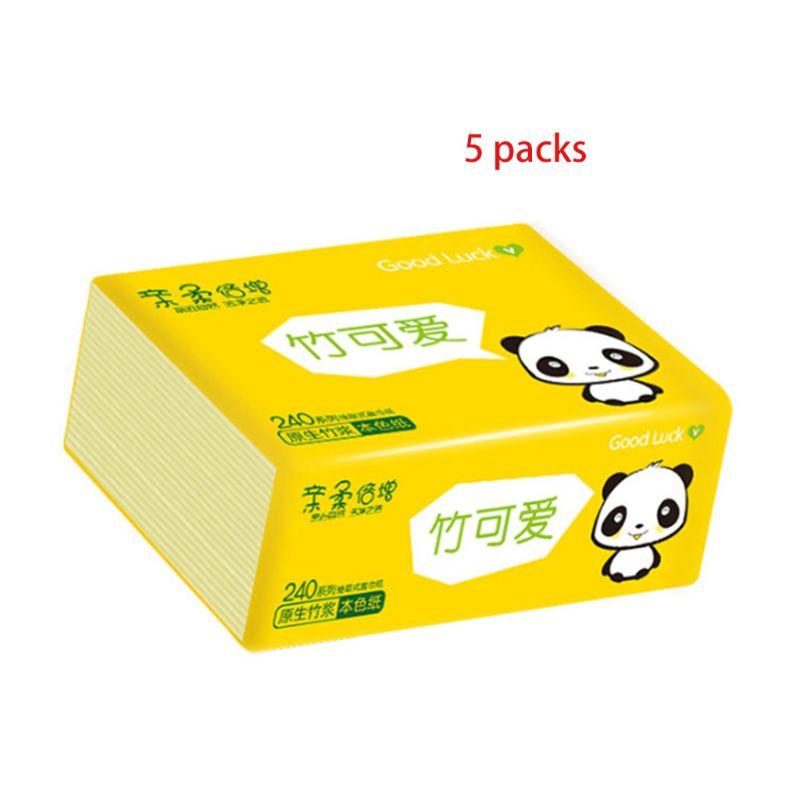 5 Pcs All Natural Eco Friendly Bath Tissue Multi-Fold Organic Bamboo Toilet Pape