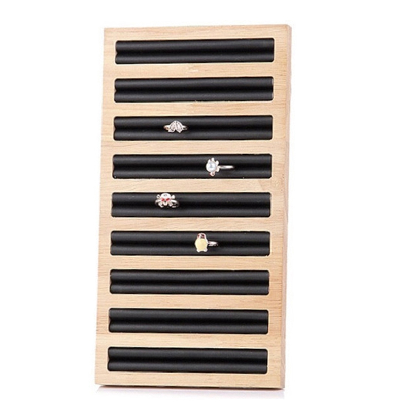 Rectangle Ring Display Tray Bamboo PU Leather Jewelry Display Tray Ring Display Holder