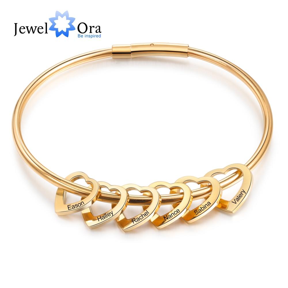 Altın renk paslanmaz çelik kişiselleştirilmiş bilezik kalpleri ile özelleştirilmiş kazınmış 2-6 isimleri bilezik ve kadınlar için bilezik hediye