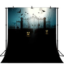 Halloween Photography Backdrop Pumpkin Castle Bat Moon Cemetery Photo Background(China)