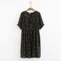 Plus Size Women Summer Chiffon Dress Flowers Printed Short Mouw Midi Dresses