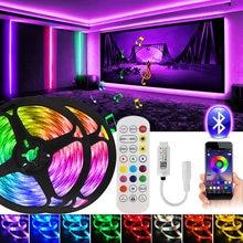 20M 50ft LED Bande 12V SMD 5050 Ruban RGB Contrôle D'APPLI De Bluetooth Couleur Changeante 5m 10m 15m Feston Néon pour les Chambres, Fête
