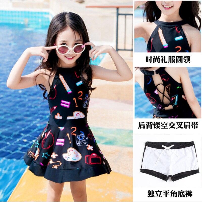 Girls Little Girl Big Boy Split Type Princess Dress-Baby Bathing Suit One-piece Boxers Dacron CHILDREN'S Swimwear