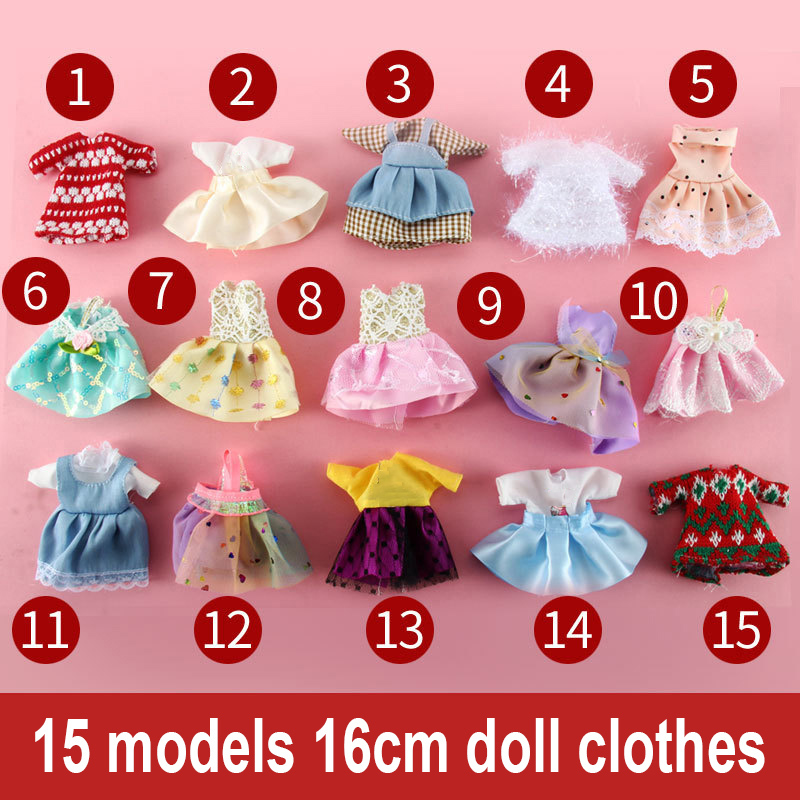 15pcs Dress Suits 16 Cm Dolls Clothes Girls Princess Dresses BJD Doll Accessories DIY Dress Up Mini Toys For Children Girls Gift