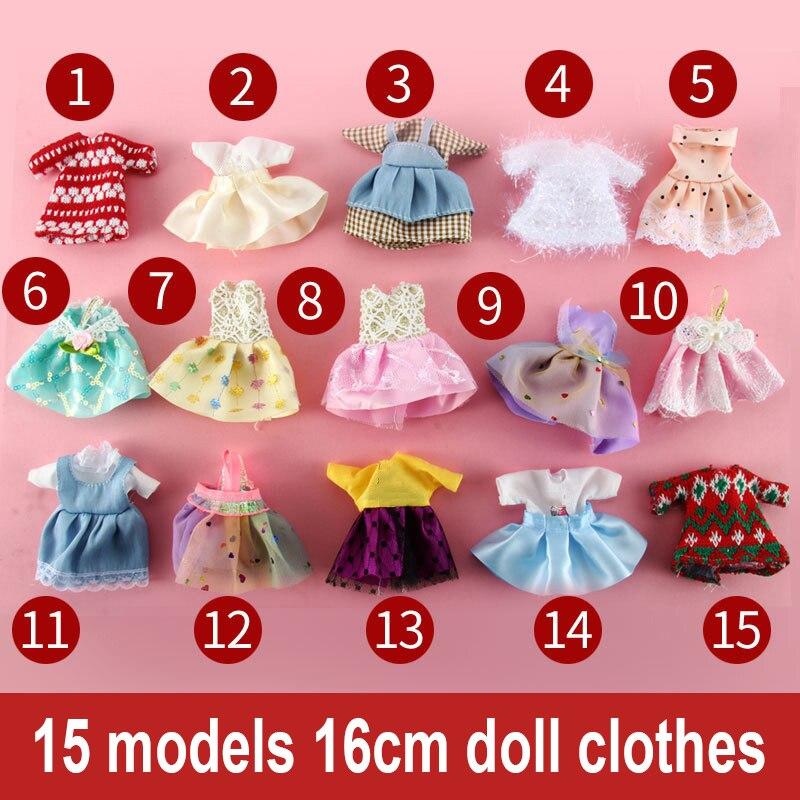 15pcs Dress Suits 16 Cm Dolls Clothes Girls Princess Dresses BJD Doll Accessories DIY Dress Up Mini Toys For Children Girls Gift