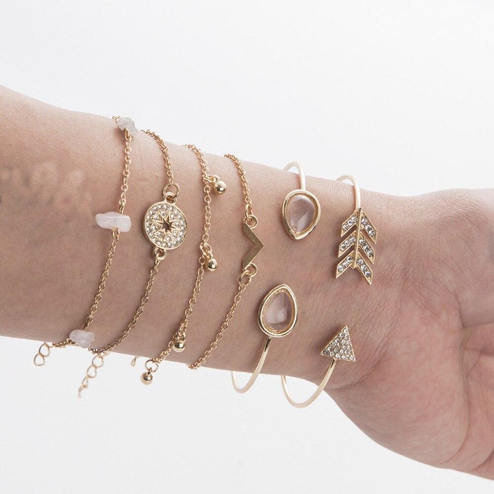 Boho feminino coração concha pulseira geometria ouro lua estrela pulseira conjunto boêmio charme senhoras jóias presente 2020