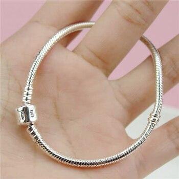Free Sent Certificate 100% Original 925 Silver 3mm Soft/Smooth Snake Bracelet Fit Hand Made Beads/Charms DIY Silver 925 Bracelet [meibapj] 925 silver 100