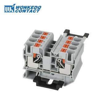 цена на Din Rail Terminal Block Conductor 10Pcs PT-10 Connectors Push In  Spring Screwless Feed Through Terminak Block  Wire Connector