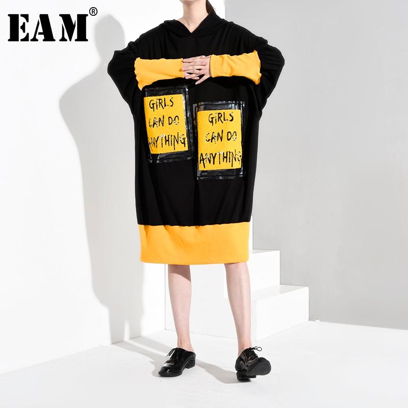 [EAM] Loose Fit Letter Print Big Size Long Sweatshirt New Hooded Long Sleeve Women Big Size Fashion Autumn Winter 2019 1B057