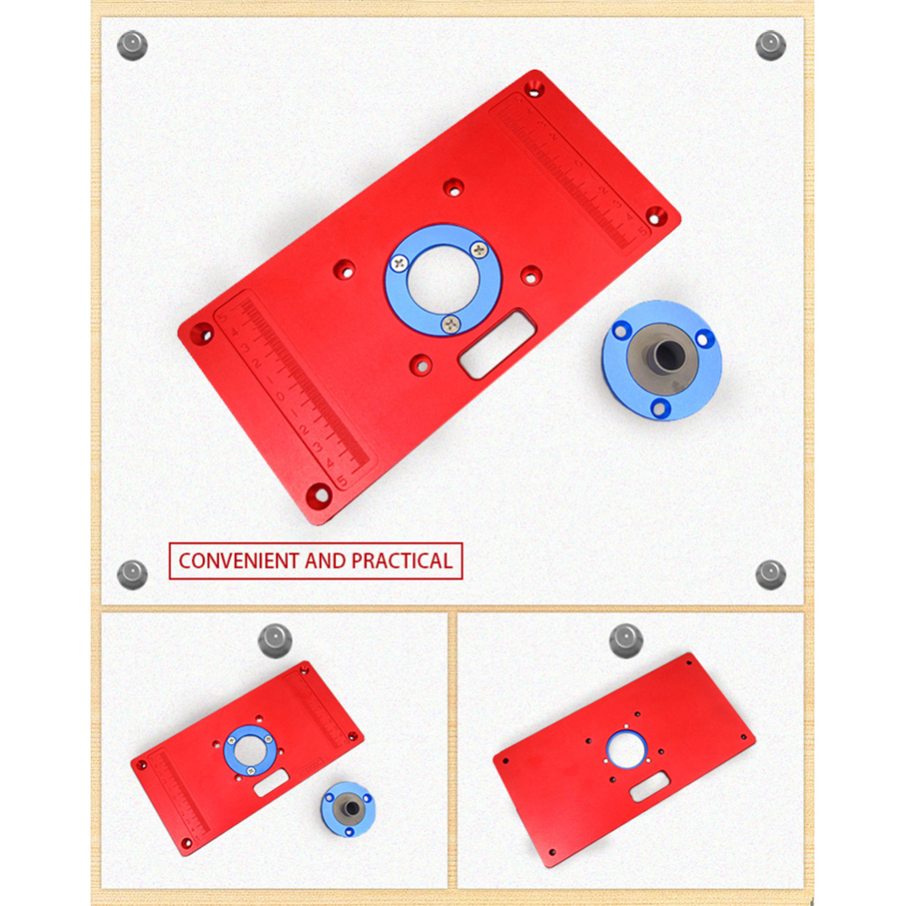 Купить с кэшбэком Multifunctional Aluminum Router Table Insert Plate Ring Screw Flip Board For Woodwork Benches Handmade Decoration Part Trimmer