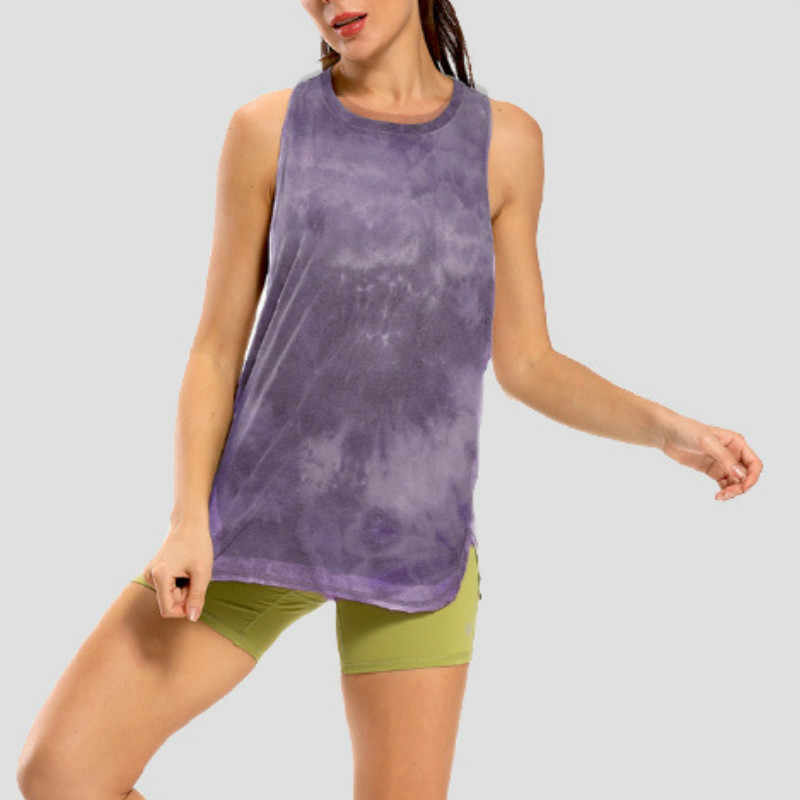 Nwt Tie Dye Racerback Losse Tank Activewear Running Workouts Kleding Yoga Tank Tops Stretch Blouse Gym Tank Mouwloze Shirts