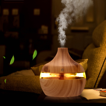 Electric Air Humidifier Essential Aroma Oil Diffuser Ultrasonic Wood Grain  USB Mini Mist Maker LED Light - discount item  46% OFF Household Appliances