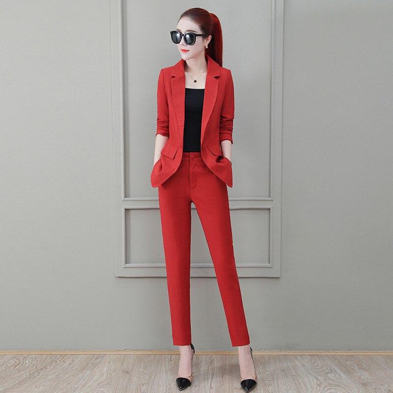 Women's Suits Professional Pants Suit Two-piece Suit 2019 Casual Office Slim Long Sleeve Ladies Blazer Jacket High Quality