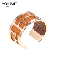 Cremo stainless steel rings Reversible Leather Bague Femme DIY Fashion Rose Gold Open Resizable Finger For Women Bijoux