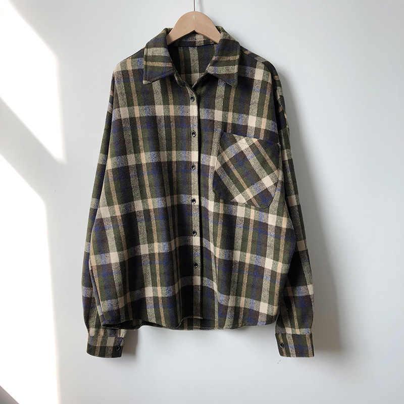 Cversized Frauen Plaid Shirts Blusen Casual langarm frauen Plaid Blusen Frühling 2020 Vintage Blusen Weibliche Große Größe