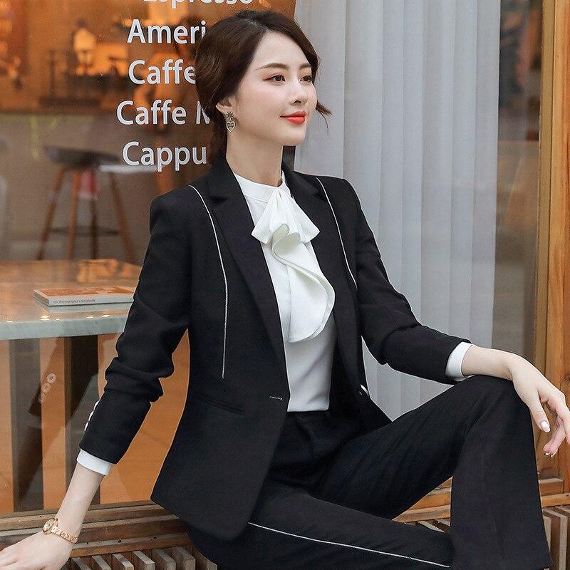 Suit Female 2019 Autumn New Temperament Slim Suit Jacket & Trousers Solid Color Elegant Fashion Two-pieces Set Plus Size