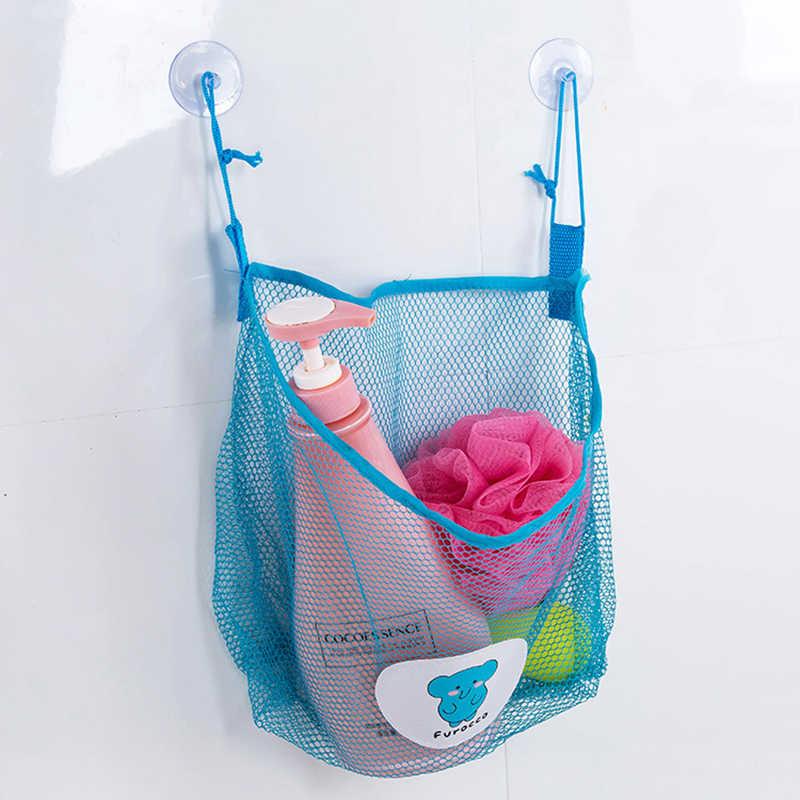 Banho do bebê Net Dobrável De Armazenamento Pendurado Saco De Rede de Malha Eco Chuveiro Do Banheiro de Sucção organizador Brinquedo Divertido Tempo Banheira Brinquedos