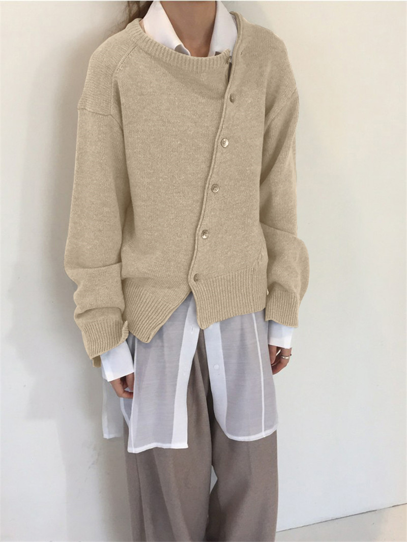 Fashion Irregular Knitwear Slanting Buckle Cardigan Winter coat  1