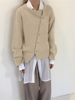 Fashion Irregular Knitwear Slanting Buckle Cardigan Winter coat  1