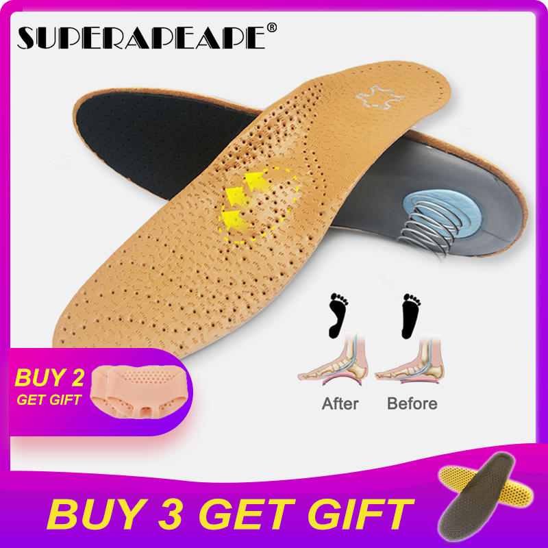 Leather orthotics Insole for Flat Foot Arch Support 25mm orthopedic Silicone Insoles for men and women Hiking Sports shoes
