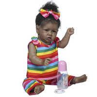 55cm Bebe Reborn cubierta negra renacer niña pequeña muñeca realista de cuerpo completo de silicona bebé afroamericano muñecas regalos metoo