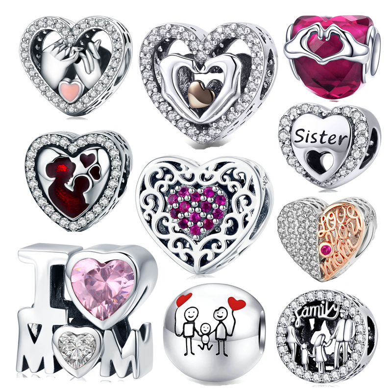 fit Europe Bracelet Silver 925 Original CZ Mom Hand Heart Beads S925 diy Zircon Sister Baby Family Charms for Jewelry Making(China)