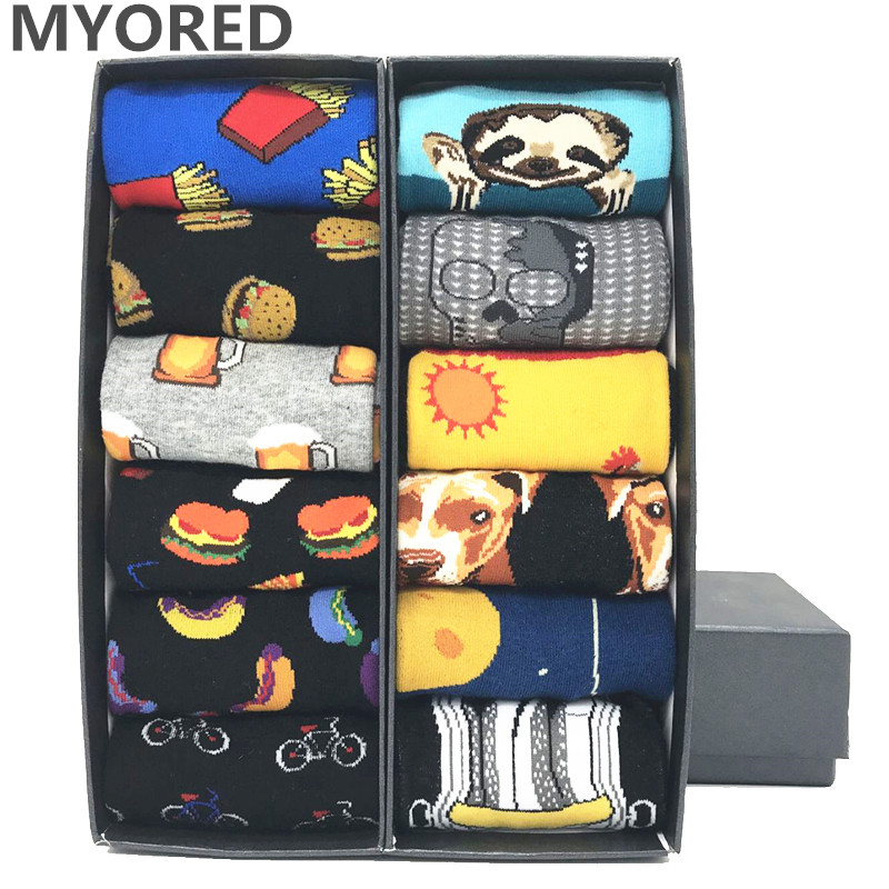 MYORED 12pairs/Lot Multi-colored Dog Fish Socks Cute Animal Pattern Argyle Warm Wedding Gift Crew Socks Business Sock  NO BOX