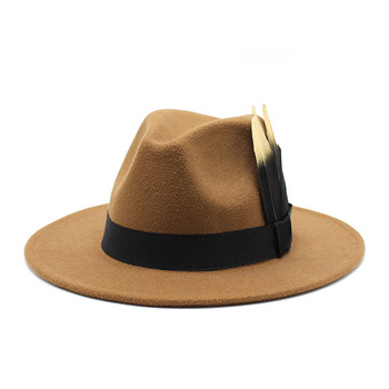 oZyc Fashion Wool Women feather Fedora Hat For Winter Autumn ElegantLady Floppy Cloche Wide Brim men Jazz Caps Size 59-61cm