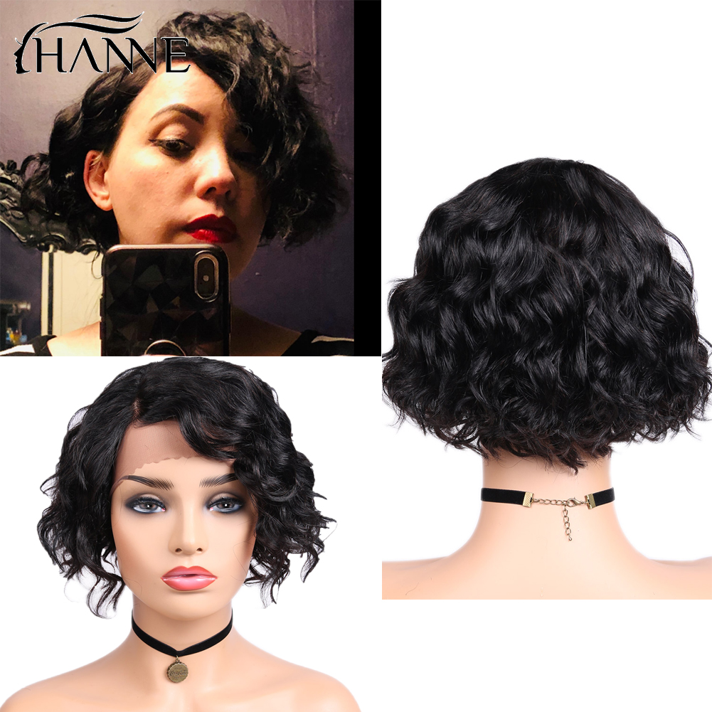 Human Hair Wigs Short Water Wave Lace Front Wigs Side Part Wavy Brazilian Remy Hair Wigs For Black Women Glueless 8 Inch