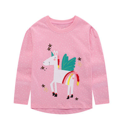 VIDMID baby Girls cotton long sleeve unicorn t-shirts baby kids cartoon casual clothes 2-7 years children t-shirts clothing W01 5
